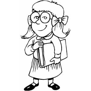 300x300 Bookworm Girl Coloring Page