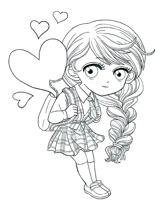 570x713 Cute Girl Coloring Pages Also School Girl Coloring Pages This Cute