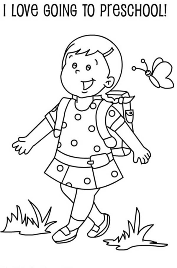 600x905 A Preschool Girl Student On Her First Day Of School Coloring Page