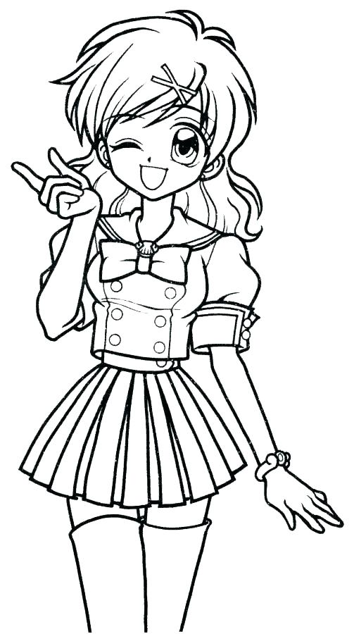 503x900 Girl Coloring Pages Anime Mermaid Coloring Pages School Girl