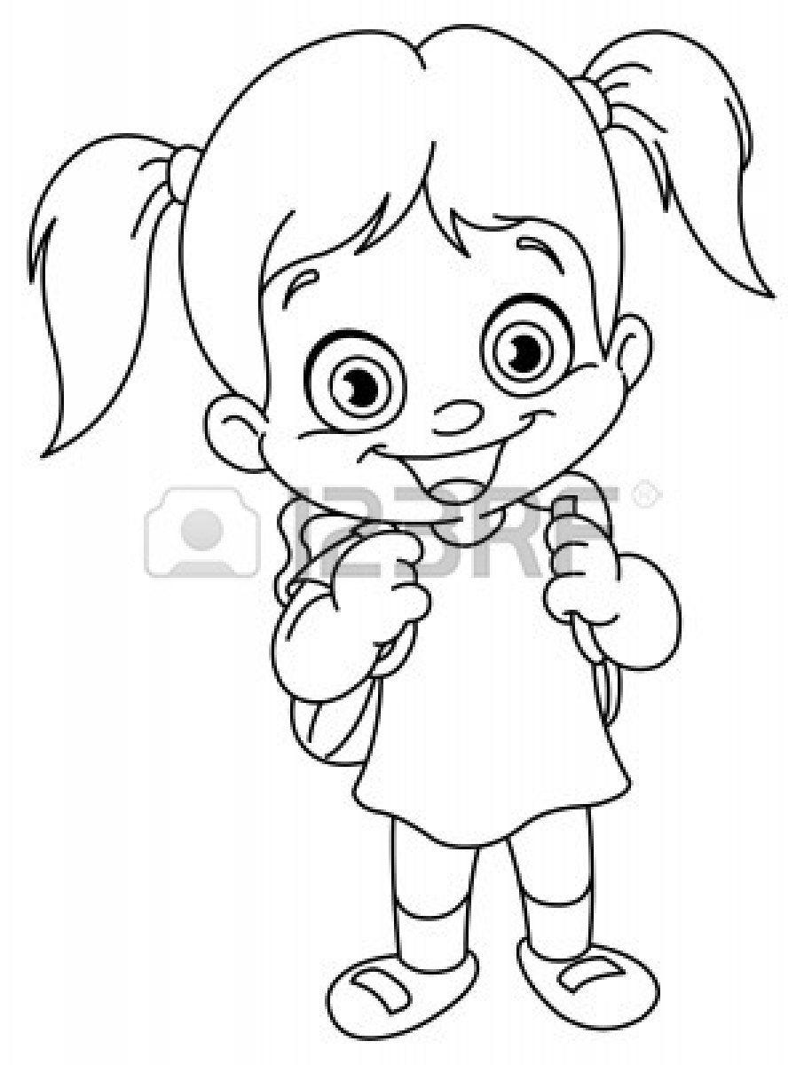 906x1200 Outlined Schoolgirl Coloring Page Schoolgirl