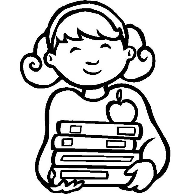 600x618 This Little Girl Is So Happy On First Day Of School Coloring Page