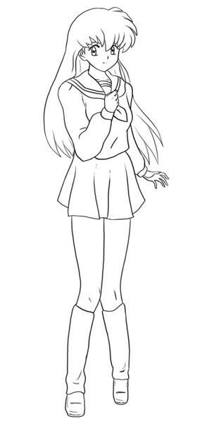 304x600 Anime School Girl Coloring Pages