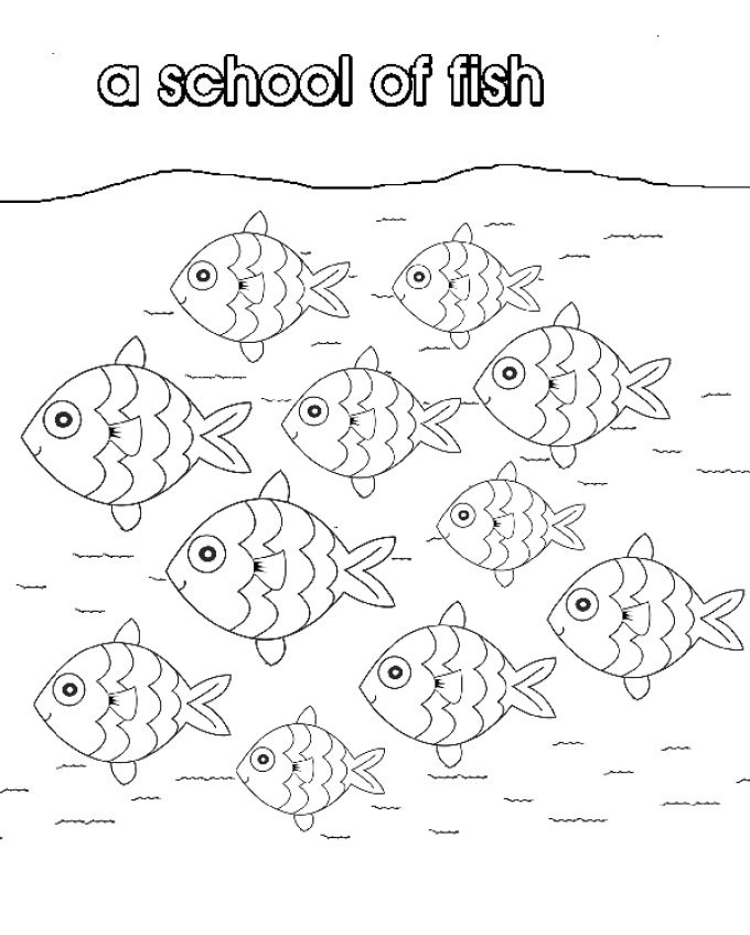 680x848 School Of Fish Coloring Pages