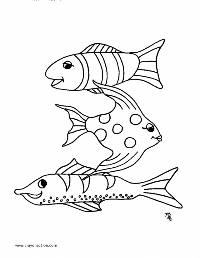 640x828 School Of Fish Coloring Sheet Pages