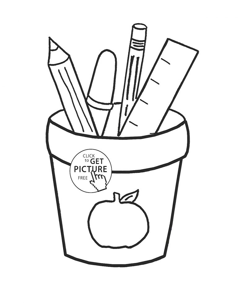 775x979 Coloring Pages Of School Supplies Coloring Page For Creativity