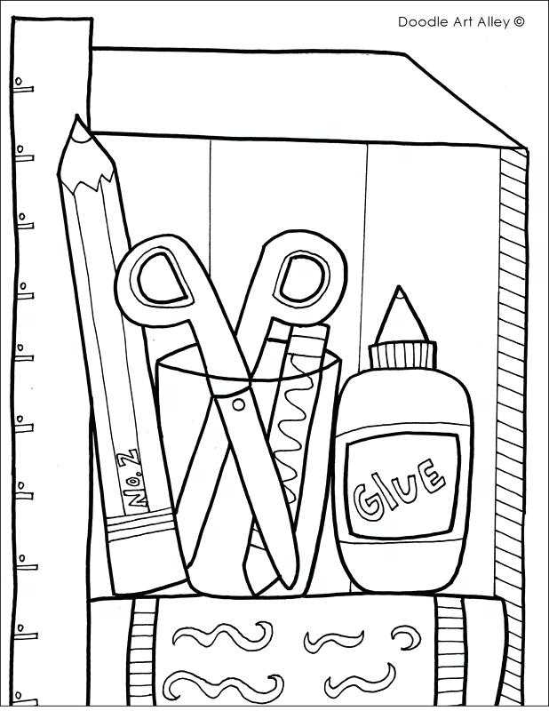 618x800 First Day Of School Coloring Pages School Supplies Coloring Page
