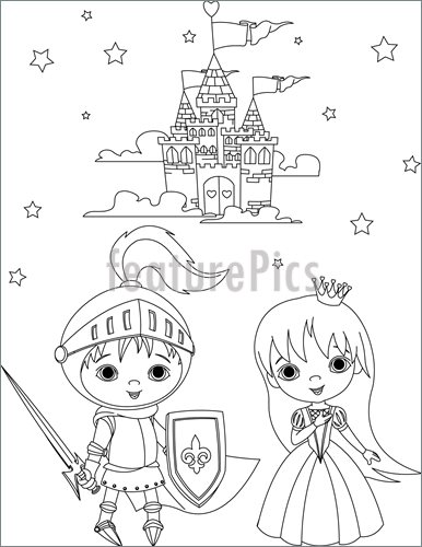 386x500 Science Fiction And Fantasy Medieval Knight And Princess Coloring