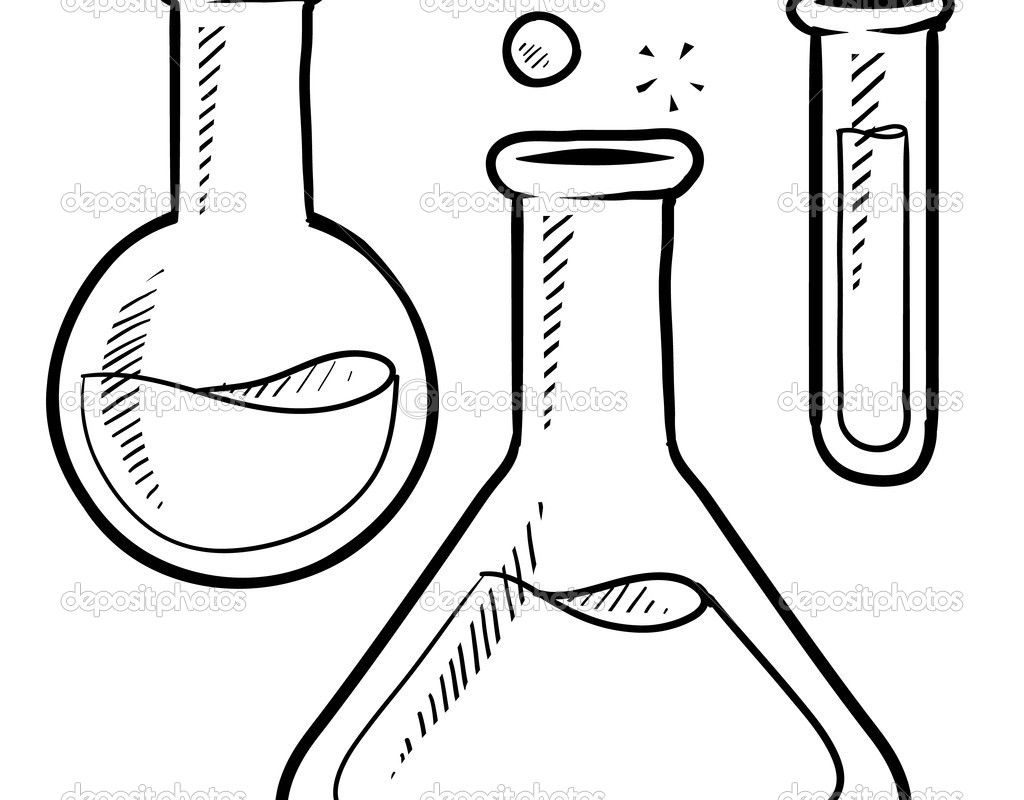 1024x800 Vector Of Cartoon Mad Scientist Holding Test Tube Outlined