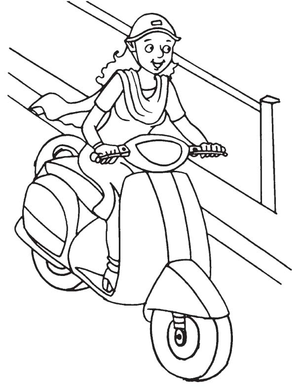 612x792 Lady Driving Scooter Coloring Page Download Free Lady Driving