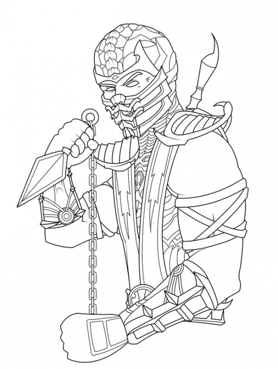 550x730 Scorpion From Mortal Kombat Coloring Page Fun Coloring Pages