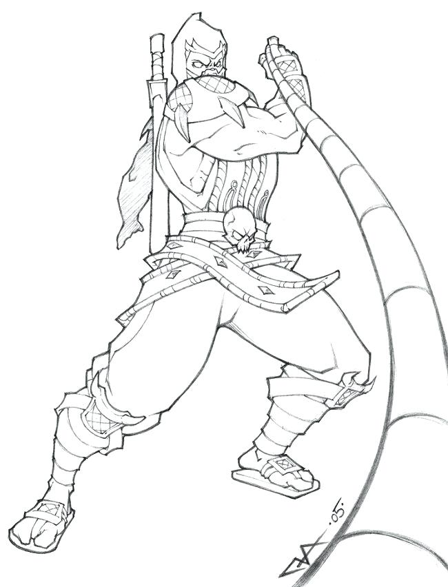 650x852 Mortal Kombat Coloring Pages Mortal Coloring Reptile Mortal