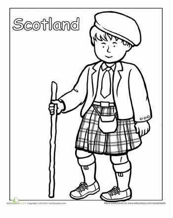 350x440 Scottish Traditional Clothing Coloring Page Worksheets