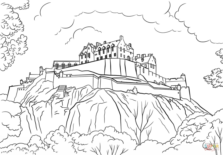 1186x824 Edinburgh Castle Coloring Page Scotland Category Select