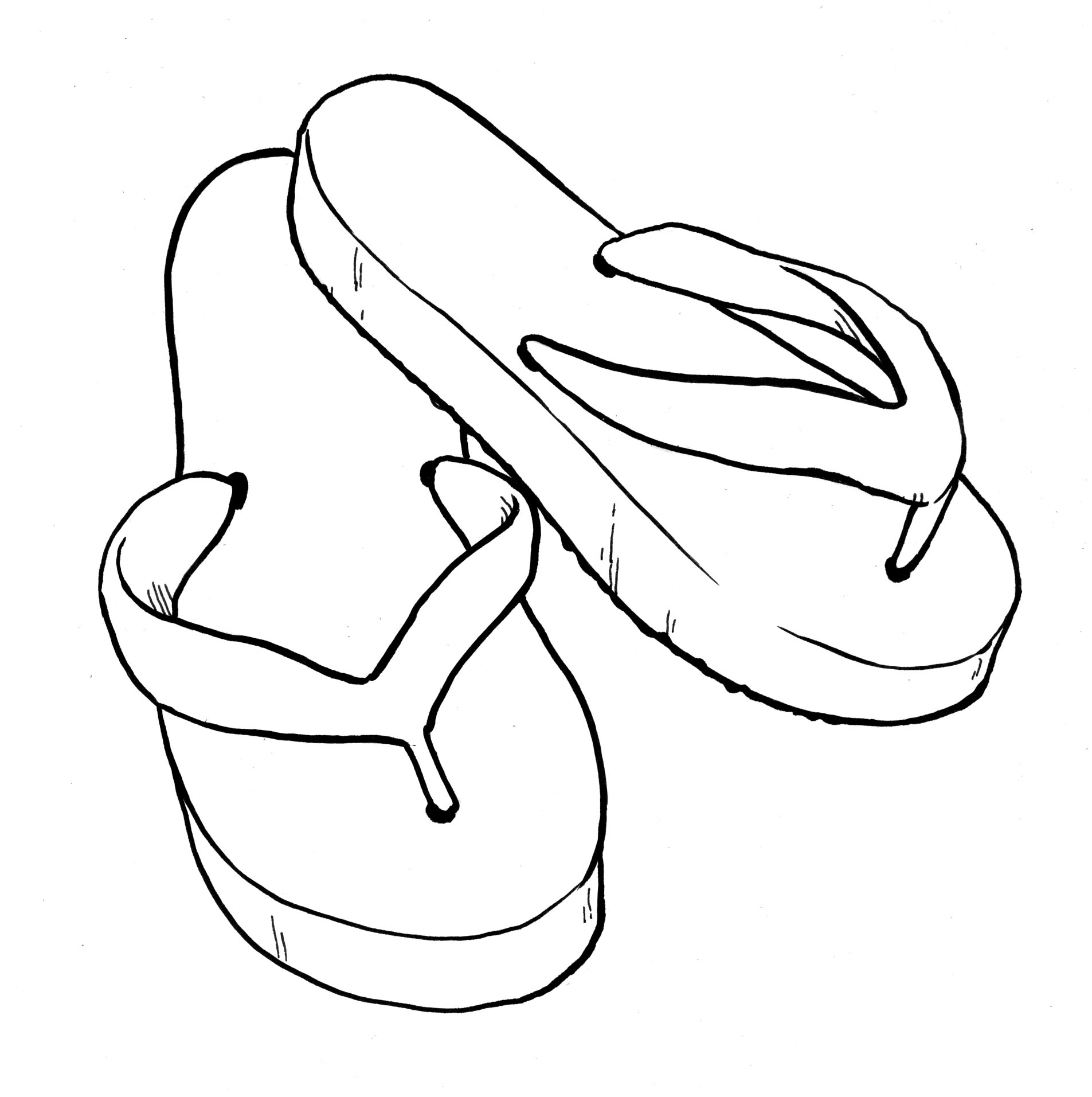 1905x1913 Flip Flop Coloring Page Copic Marker Scrapbooking S First Digi