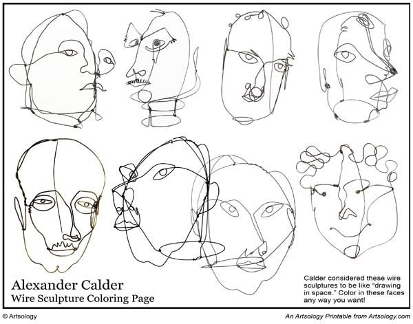 600x471 Print Our Alexander Calder Coloring Page Featuring His Wire