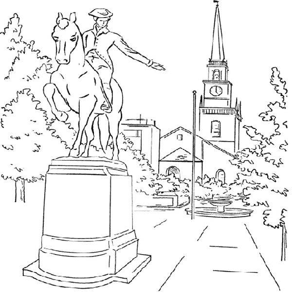 600x602 Sculpture Paul Revere Coloring Page Kids Coloring Pages