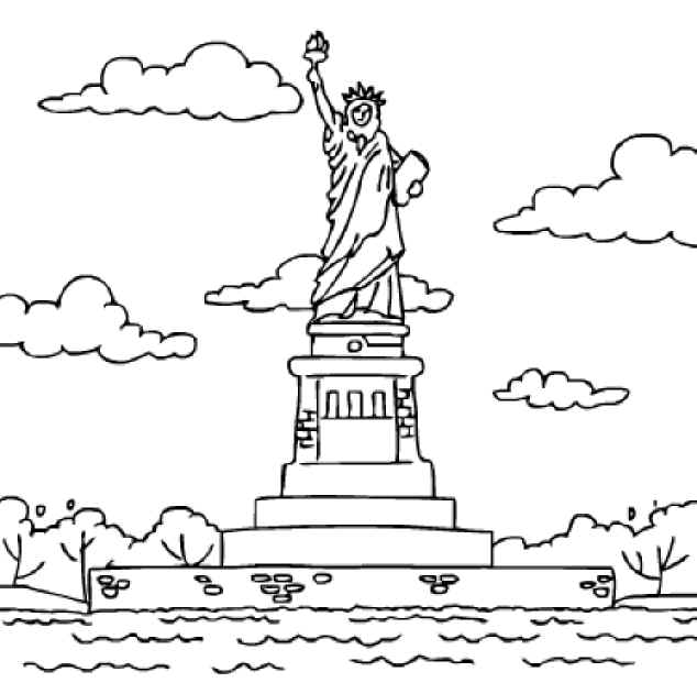 634x631 Statue Of Liberty Coloring Pages