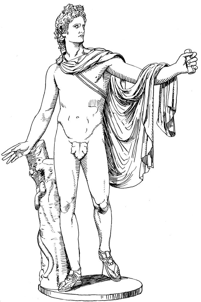 683x1024 Apollo Statue Sclupture Coloring Page