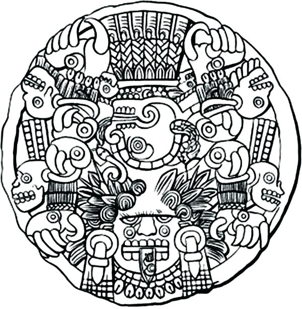 600x615 Coloring Pages With Lion Sculpture Aztec Of Mayan Macgregormalta
