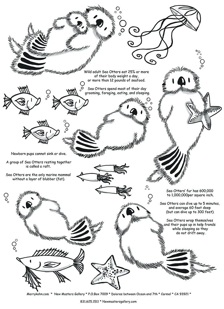 727x1000 Sea Otter Coloring Pages Otter Fun Facts Sea Otter Colouring Pages