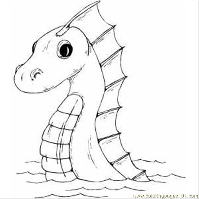 650x650 Sea Serpent Coloring Page