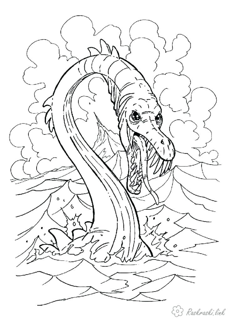 735x1024 Excellent Appealing Sea Serpent Coloring Pages Print Download