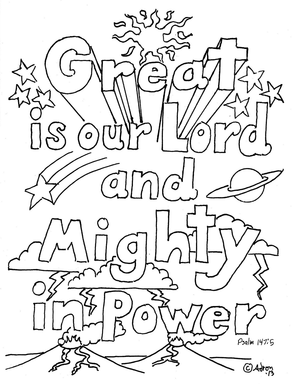 1220x1600 Great Psalm Coloring Page Mighty In Power L