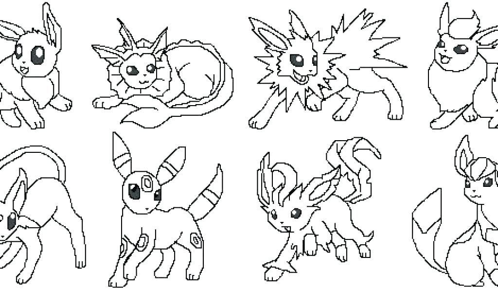 1024x600 Pokemon Coloring Pages All Eevee Evolutions Printable Coloring