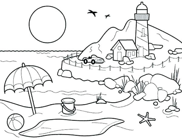 600x459 Coloring Book Pages Beach