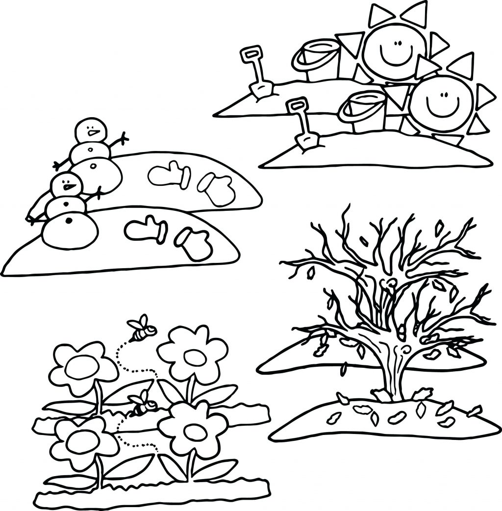 1024x1042 Coloring Page Seasons Coloring Pages Four For Kindergarten