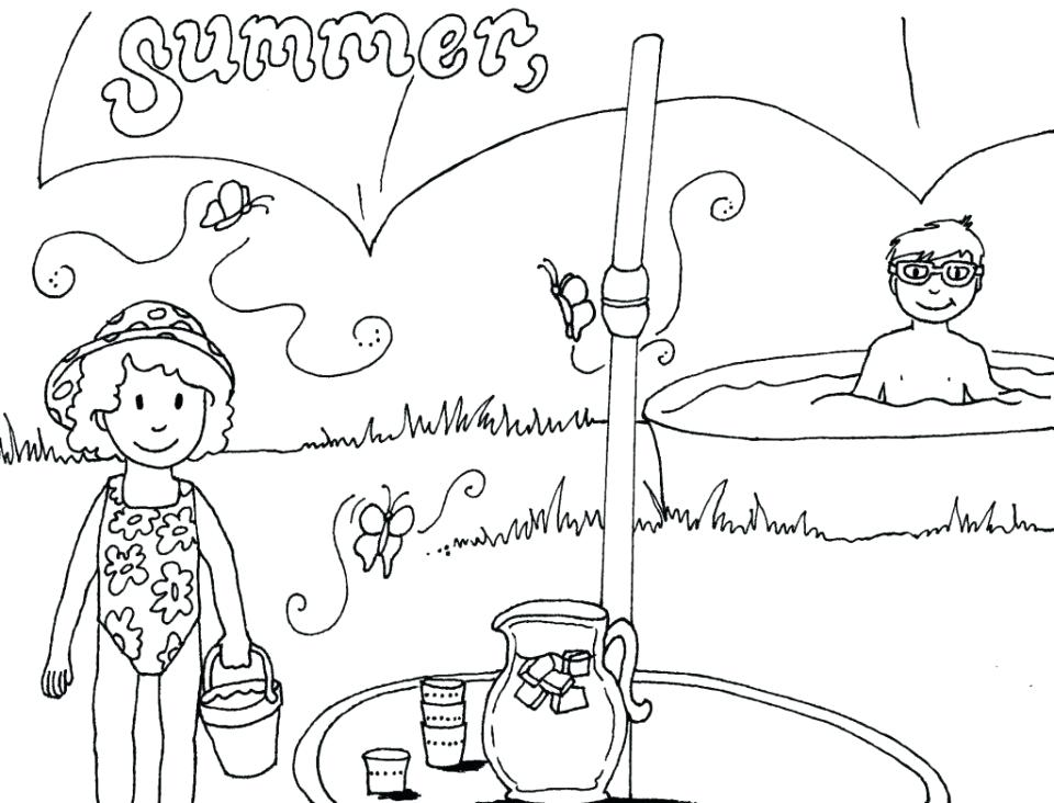 960x732 Seasons Coloring Pages Summer Four Seasons For Kindergarten Season