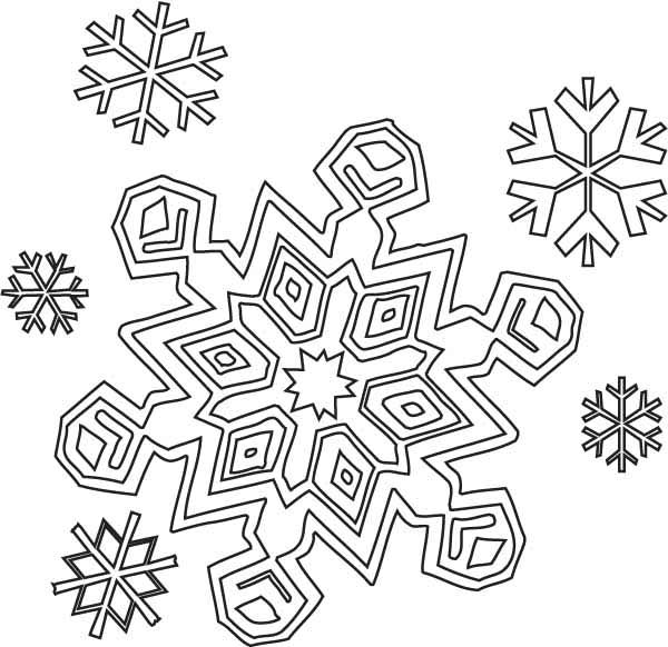 600x582 Winter Season Christmas Snowflakes Coloring Page