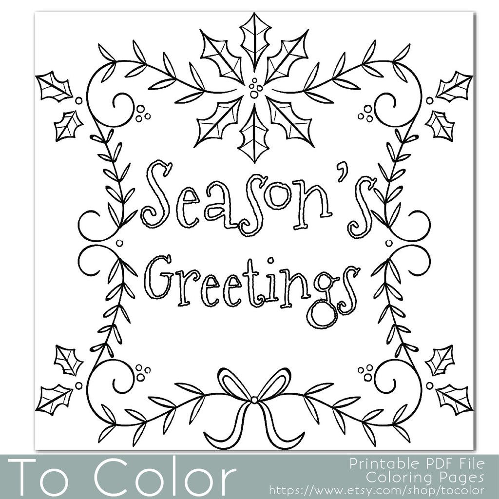 1024x1024 Holiday Seasons Greetings Coloring Page For Grown Ups
