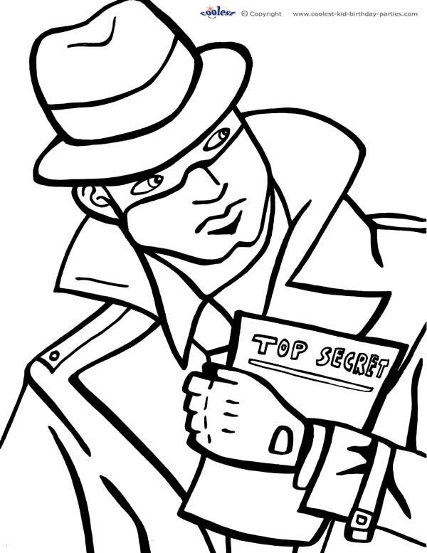 600x777 Printable Spy Detective Coloring Page Coolest Free Printables
