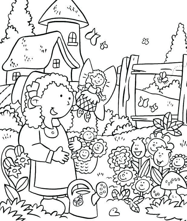 618x728 Garden Coloring Sheets My Little House And The Flower Garden Free