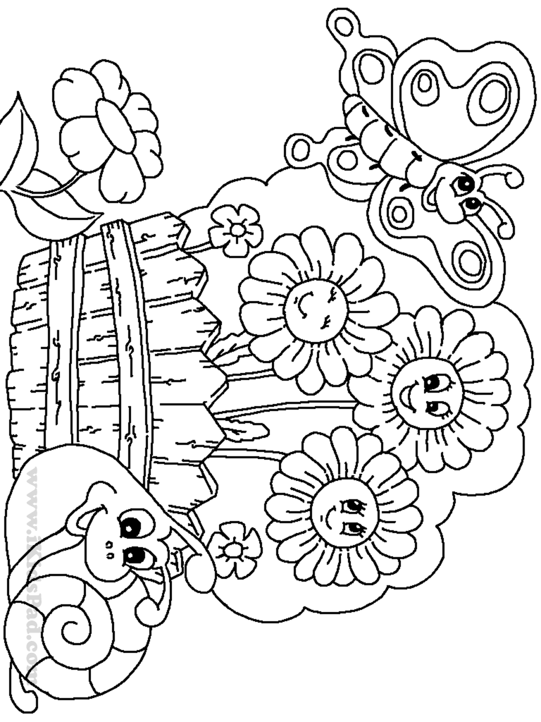 768x1024 Garden Colouring Pages To Print Printable Coloring For Adults Free