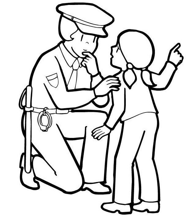616x708 Girl And Police Officer Coloring Page