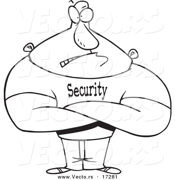 600x620 Vector Of A Cartoon Strong Bouncer
