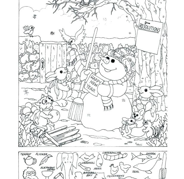 618x600 Hidden Picture Coloring Pages Find The Hidden Objects Coloring