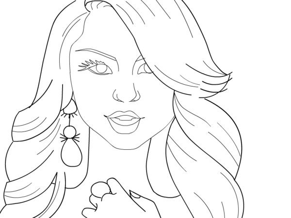 600x450 Selena Coloring Pages Selena Gomez Celebrities Printable