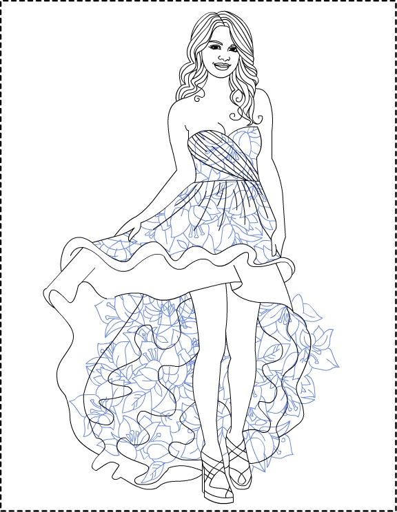 576x744 Unbelievable Selena Gomez Coloring Pages For Kids