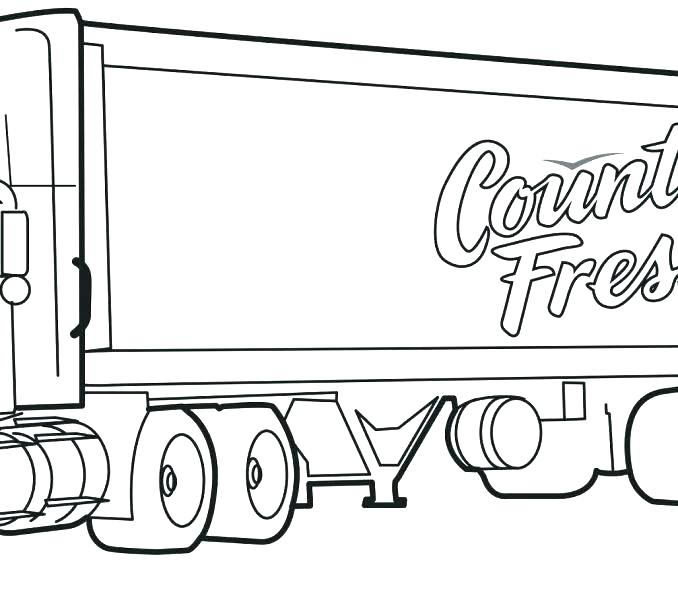 678x600 Semi Truck Coloring Page