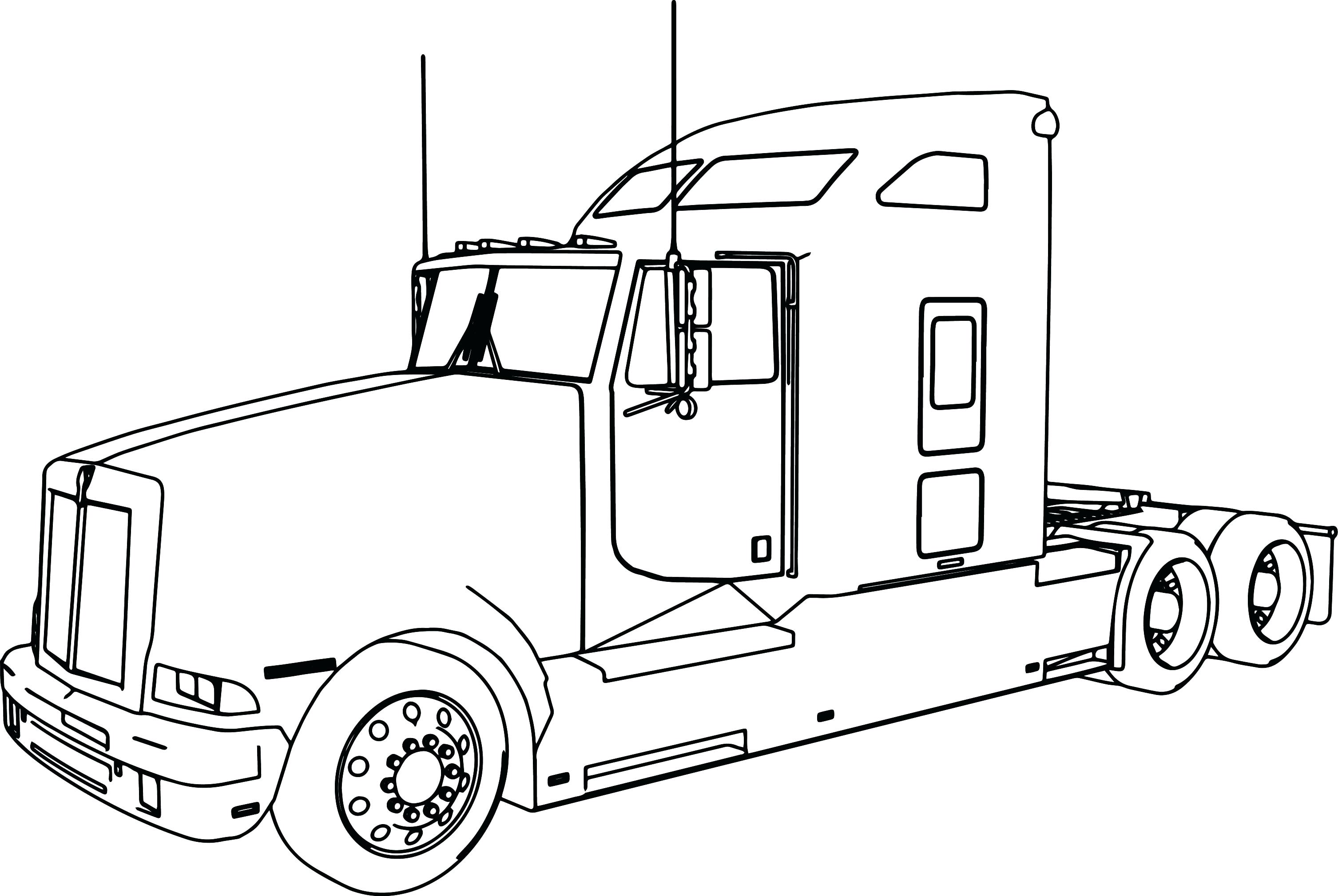 3013x2019 Truck Coloring Pages Trailer Semi Page Clip Art Vector All