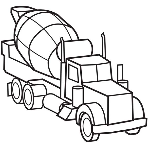 600x578 Picture Of Cement Truck Semi Truck Coloring Page