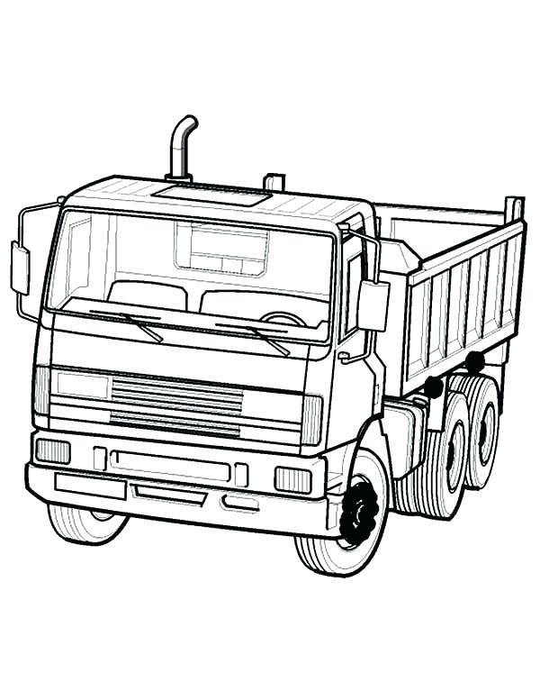 600x777 Semi Truck Coloring Page Dump Truck Coloring Dump Truck In Semi