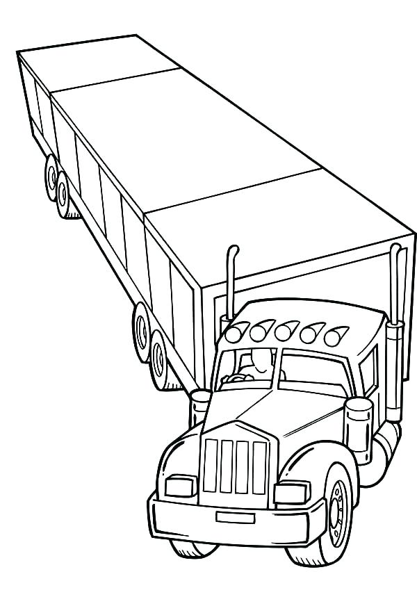 600x859 Semi Truck Coloring Pages Also Semi Truck Coloring Pages Truck