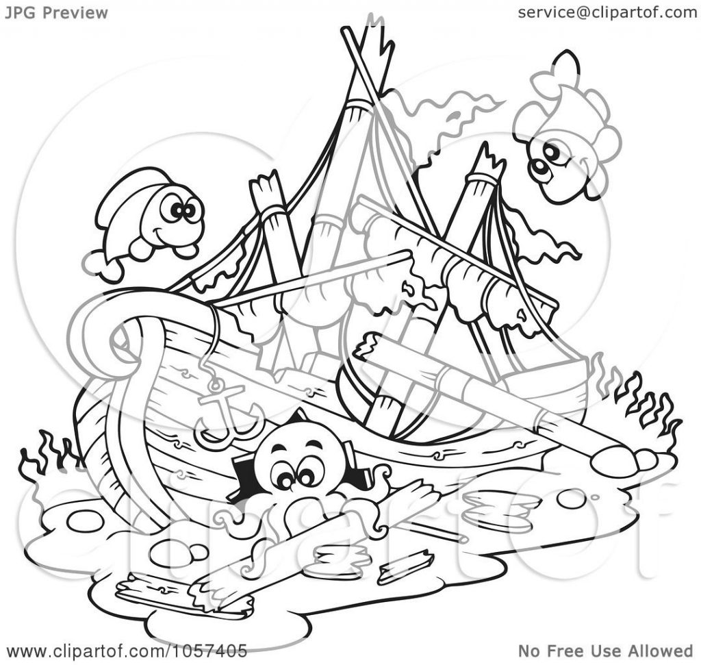 1024x971 Sunken Pirate Ship Coloring Page