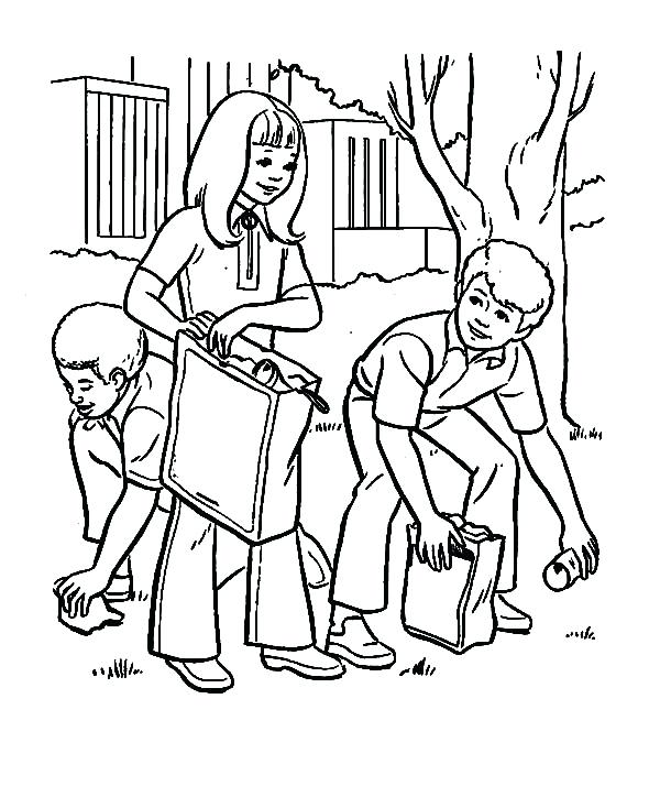 600x734 Helping Others Coloring Pages Earth Day Cleaning Park Helping