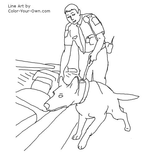 500x500 Drug Detection Service Dog Coloring Page